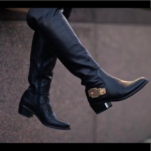 VINCE CAMUTO Black Tall Bedina Leather Boots